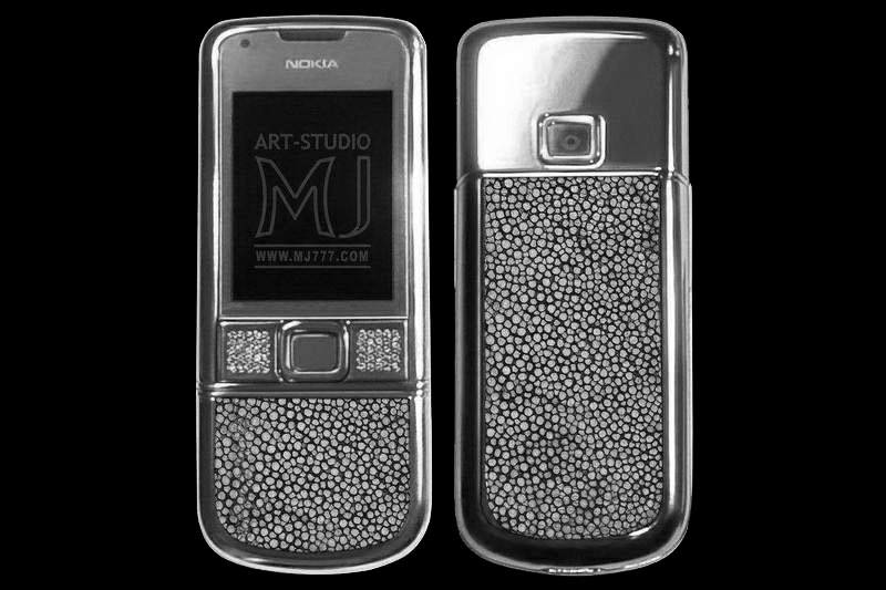 Elite Nokia 8800 Arte Platinum Exotic Geniune Leather MJ Limited Edition - Stingray Polished