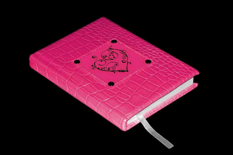 MJ Luxury Diary Red Heart - Pink Crocodile