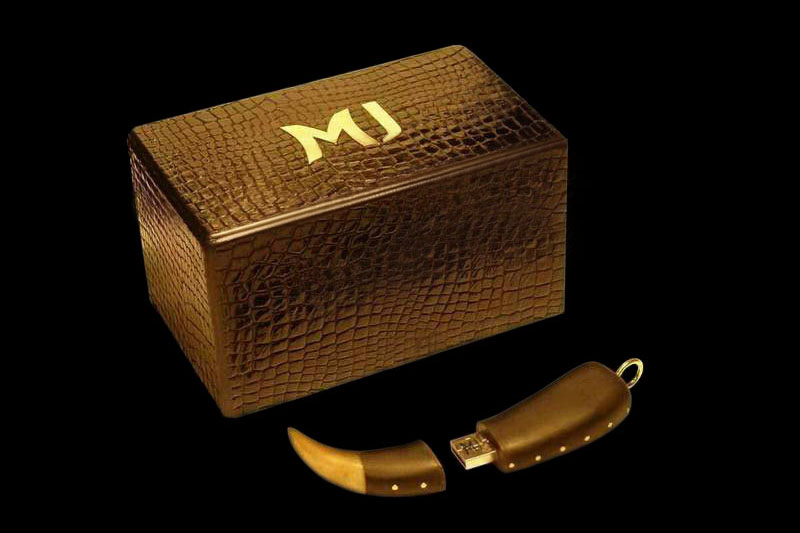 MJ - USB Flash Drive Tiger Blackwood Diamond Edition - Super Fast, Natural Material, Wild Stile - Gift Box from Crocodile Skin & Gold Logo.