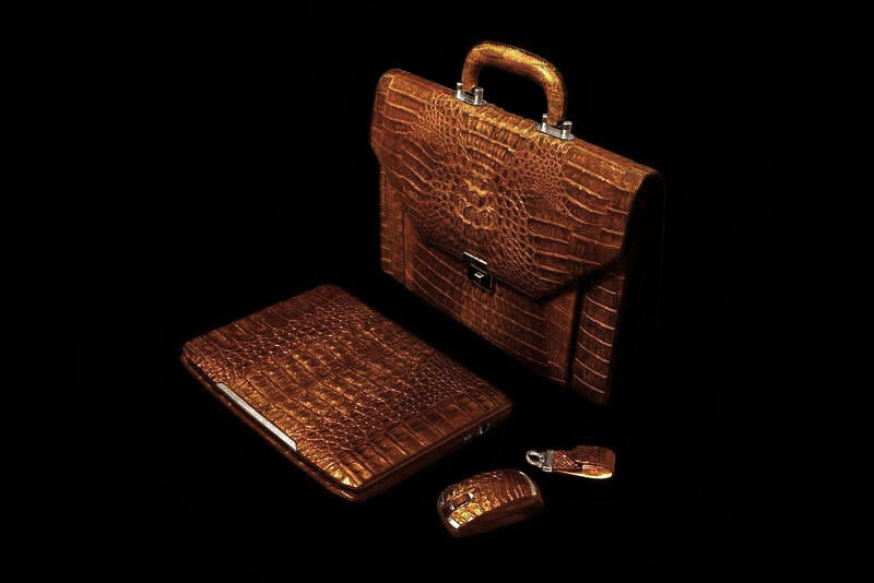 MJ - Unique Crocodile Laptop, Leather Bag, Luxury Mouse & VIP USB Flash Drive from Columbian Cayman & Gold (Crocodile Skin).