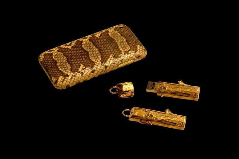 MJ - Apple iPhone Gold Skin Edition & MJ - USB Flash Drive 64gb Gold Wood Diamond Edition 777